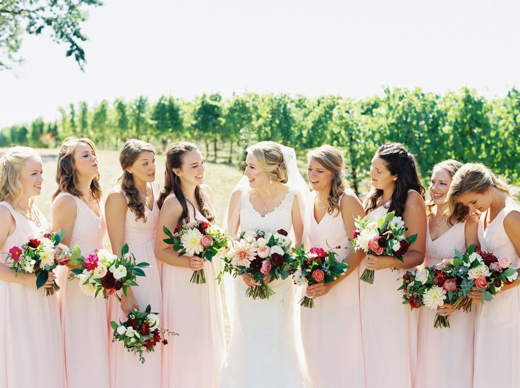 blush wedding, bridesmaids dresses, wedding flowers